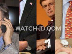 David McCallum wearing the stainless steel watch with white dial on and off the