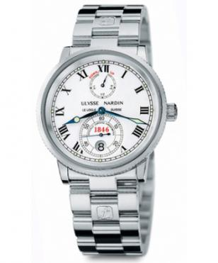Stainless steel Ulysse Nardin 1846 Marine Chronometer with white dial