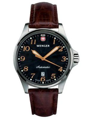 Wenger TerraGraph Automatic 72764, brown leather strap, black dial