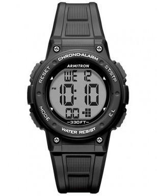 Armitron Black Digital Chronograph Watch with Resin Strap