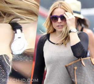 Kristen Bell wears a Baume & Mercier Linea on the set of Veronica Mars (Santa Monica Pier, July 2013).