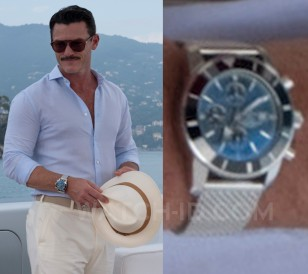 Luke Evans wears a Breitling Superocean Héritage II Chronograph 46 watch in Murder Mystery.