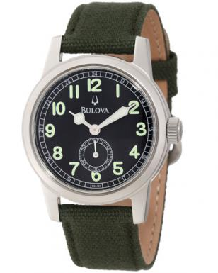 The Bulova 96A102 watch has a green canvas strap, 40mm steel case, black dial wi