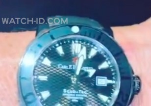 Sylvester Stallone shows the black Carl F. Bucherer ScubaTec watch from Rambo: Last Blood in an Instagram video (note that the watch seems lighter because of the lighting in the video)