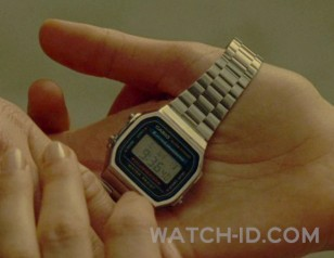 Close up of the Casio A168W-1 watch in the film Wonder Woman 1984
