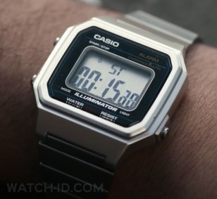 The Casio B650WD-1A watch gets many close-ups, when the Joseph Gordon-Levitt's character uses the Stopwatch feature.asio