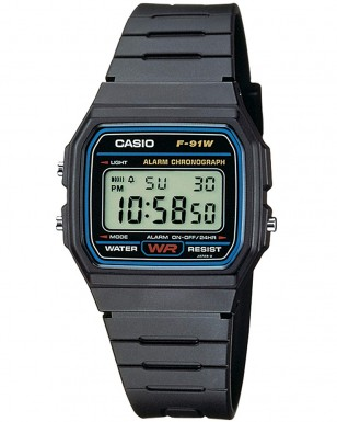 Casio F-91W-1, a black casual classic watch with a resin band
