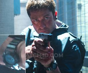 Gerard Butler wearing a Casio G-Shock G9100-1 watch in the film Olympus Has Fall