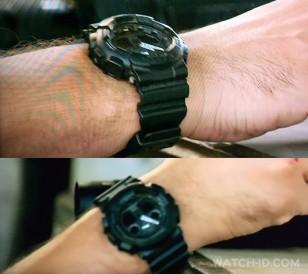Close-ups of the all-black Casio G-Shock GA100-1A1 watch in season 4 of Homeland.
