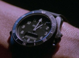 Close-up of the Chronosport UDT Sea Quartz analogue/digital diver's worn by Sylvester Stallone in Rambo III (1988).