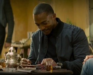 Anthony Mackie wears a Citizen Chandler BU2055-16E watch, seen here in the first episode of the Marvel series The Falcon and The Winter Soldier.