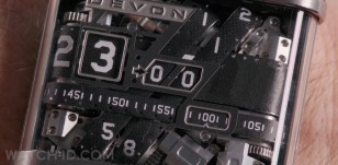 Close-up of the DEVON Works Tread 1 wristwatch in the Amazon / BBC miniseries Good Omens.