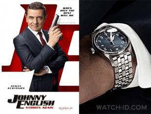 "Universal PicturesRowan Atkinson wears a IWC IW327016 Pilot's Watch Mark XVIII Edition ""Le Petit Prince"" on the poster of Johnny English Strikes Again."