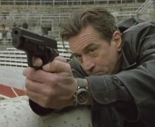 Robert De Niro wears a vintage Jardur Bezelmeter 960 watch in Ronin.