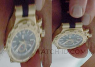 The gold Bvlgari Diagono Professional GMT watch seen on the wrist of Javier Bard