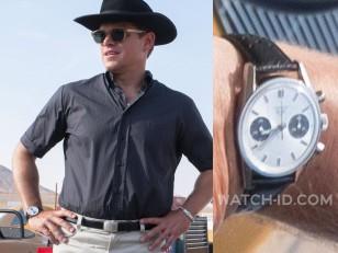 Matt Damon wears a Heuer Carrera 7753SN in the 2019 movie Ford v. Ferrari.