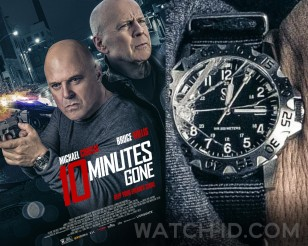 Michael Chiklis wears a diver's watch in 10 Minutes Gone (2019), seen here on the poster.