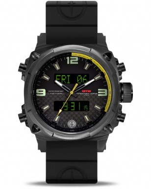 MTM Black Air Stryke II with black rubber strap and yellow details on the dial (ref AS2BCYDBV2MTM but with rubber strap as pictured here)