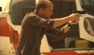 Kiefer Sutherland as Jack Bauer wears a MTM Black Hawk watch with velcro strap in the television series 24.
