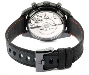 The nylon strap with titanium buckle of the Omega Speedmaster Dark Side of the Moon