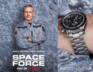 Steve Carell wears a Omega Speedmaster Moonwatch in the Netflix series Space Force.