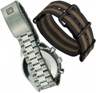 The original steel bracelet and the 'James Bond' Nato strap, both seen on the Omega Speedmaster in the film