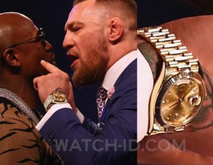 Conor McGregor wears a Rolex Day-Date 40 during the press conference in London in July 2017.