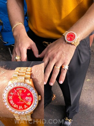 Rolex Day-Date on set of the film, here in a photo of costumer designer consultant Mordechai Rubinstein. The watch has a gemstone-set bracelet, Roman numerals on the dial