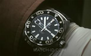 Close-up of the TAG Heuer Aquaracer 500m Calibre 5 automatic worn by Jai Courtne