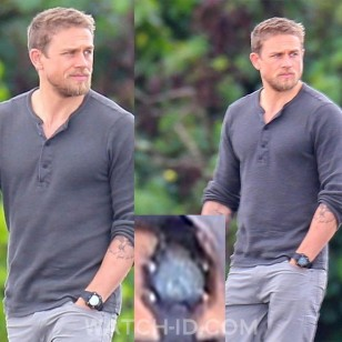 Charlie Hunnam wears a Timex T49896 Expedition Rugged Shock Digital CAT watch in the 2019 Netflix film Triple Frontier.