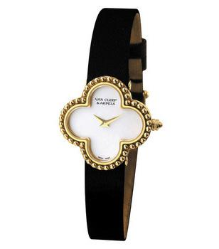 Van Cleef & Arpels Alhambra watch with gold case, mother of pearl dial, 'grain'