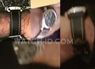 The watch worn by Mel Gibson has a leather strap with stitching, a steel case with crown protector and black dial