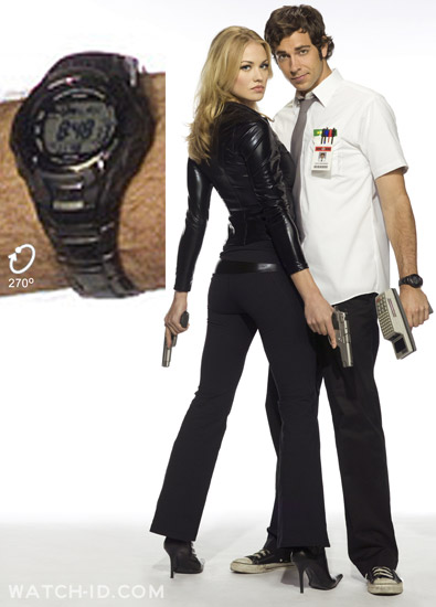 Zachary Levi wears a Casio G-Shock MTG910DA-1V on this promotional photo for the