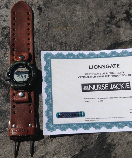 A screen-used Casio SGW300HB-3AV seen in Nurse Jackie