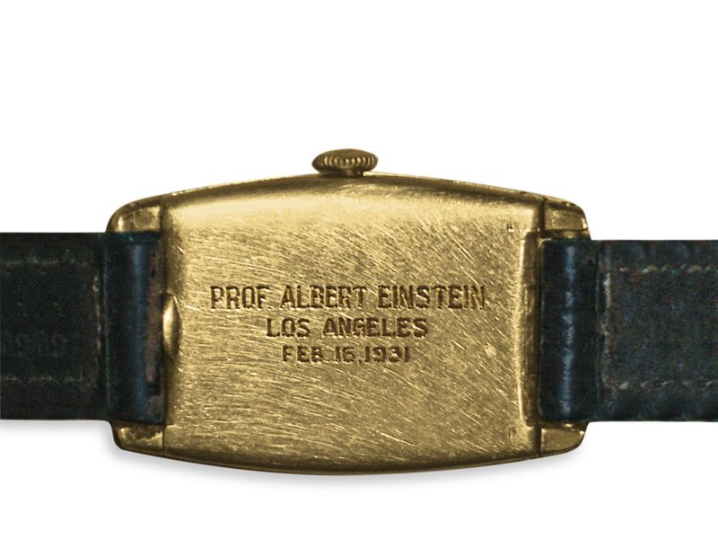 """The engraved back of the gold Longines case reads """"Prof. Albert Einstein, Los An"""