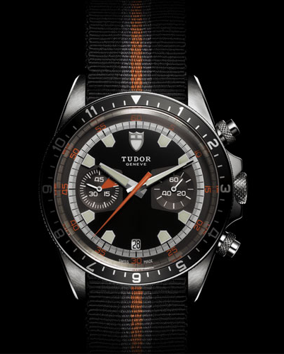 Tudor Heritage Chrono with fabric strap and black dial (grey subdials)