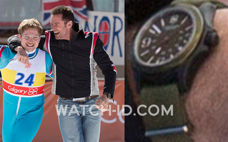 In this image, the green strap and case of the Victorinox Original watch can clearly be spotted.