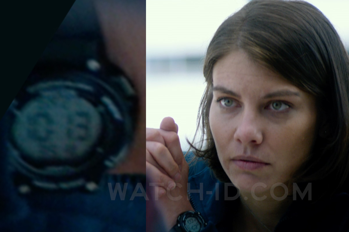 Lauren Cohan as Alice Curr wears an Armitron Black Digital Chronograph Watch with Resin Strap in the 2018 film Mile 22.