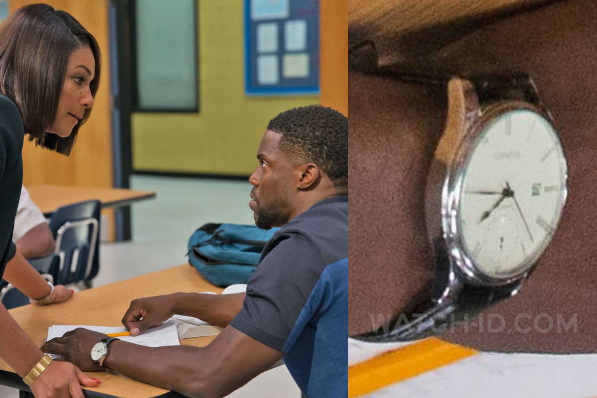 Kevin Hart wears a classic analog watch in the 2018 comedy film Night School.