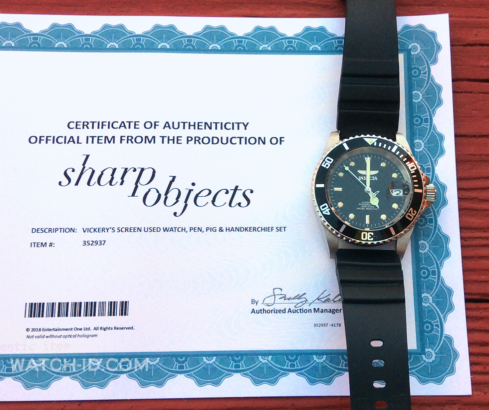 Certificate of the screen used Invicta watch from Sharp Objects