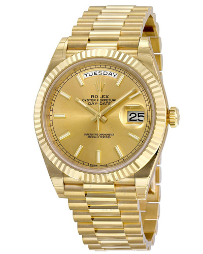 Rolex Oyster Perpetual Day-Date 40, in 18 ct yellow gold with President bracelet, reference number 228238-0003