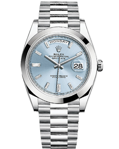 Rolex Oyster Perpetual Day-Date 40, Platinum Case and President bracelet, Ice-Blue dial with diamond hour indicators, ref. 228206.