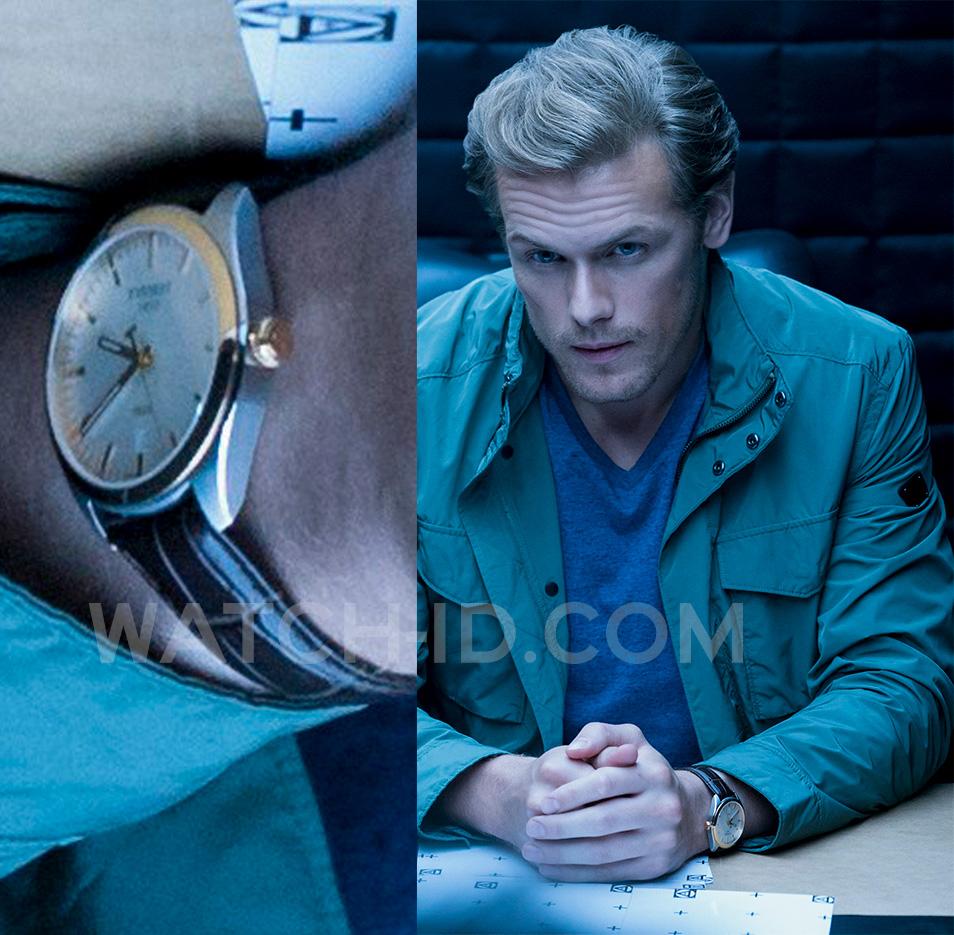 Sam Heughan wears a Tissot PR100 T101.410.260.31.00 watch in the movie The Spy Who Dumped Me (2018).